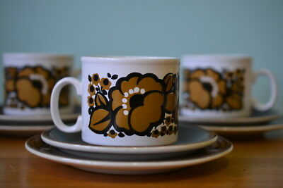 Vintage Staffordshire trio tea cup / coffee cup & two saucers WTPL