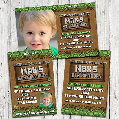 Personalised Inspired by Minecraft Birthday Invitations Invites Party Photo