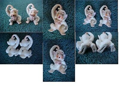 2 Monkey Figurines Salt Sugar Glaze Vintage Spaghetti Trim So Cute Figures