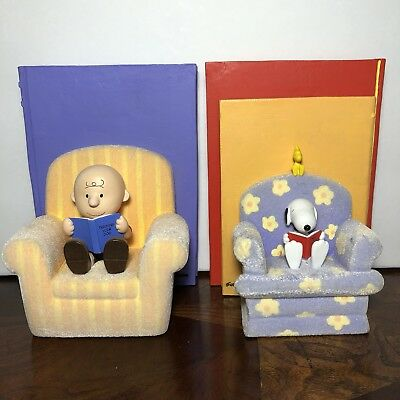 """Hallmark Peanuts Gallery """"By The Book"""" Bookends Snoopy Charlie Brown Limited"""