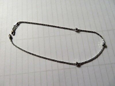 White Gold  Anklet -10 Inch -2.1 Grams of gold - with Lobster Claw clasp