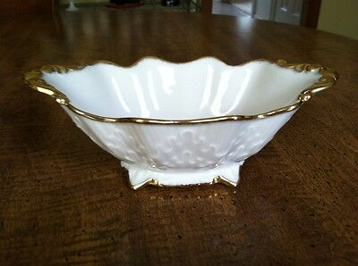 Lenox Lorelei Footed Candy Dish; Ivory with Gold Trim; Embossed Design; EUC
