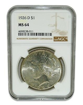 1926-D $1 MS 64 Peace Silver Dollar Coin NGC Certified #3