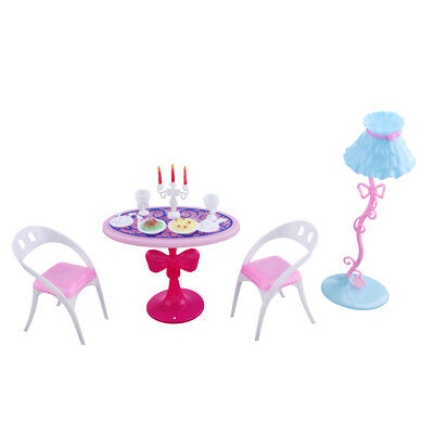 Dolls Room Furniture Dining Table Chair Set for Barbie Doll House Accessory