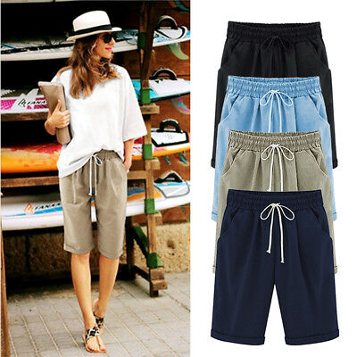 Fashion Women Ladies Casual Loose Shorts Trousers Cropped Pants Summer M-3XL BW