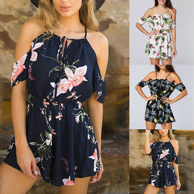 Summer Women Off Shoulder Rompers Holiday Playsuit Floral Printed Jumpsuit BW