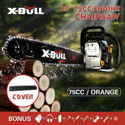 "X-BULL 75cc Commercial Petrol Chainsaw 20"" Chain Saw Tree Pruning"