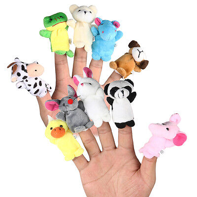 10Pcs Cartoon Family Finger Puppets Cloth Doll Baby Educational Hand Animal Toy.