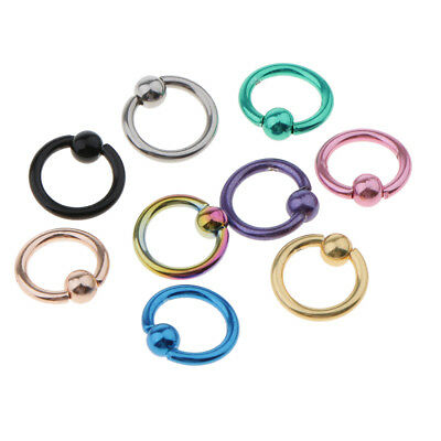 9pcs Nose Hoop Lip Eyebrow Tongue Helix Tragus Septum Stainless Steel Ring Loop