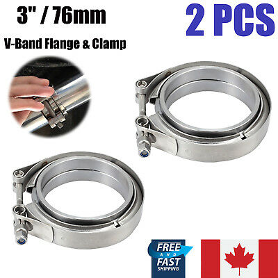 "2X 3.0"" 76mm V Band Clamp Stainless Steel Turbo Downpipe Female Male Flange Kit"