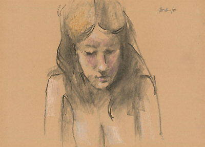 Peter Collins ARCA - Signed 1980 Charcoal Drawing, Portrait of a Woman