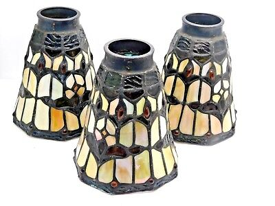 Estate Vintage 3 Piece Stain Glass Lamp Shades