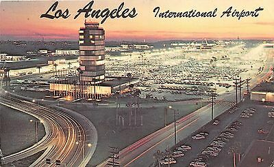 Los Angeles California International Airport @ Dusck~1970 Lime Lapse Postcard