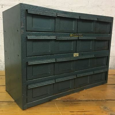 Vintage Rota Metal Tool Storage 16 Drawers Cabinet - Industrial
