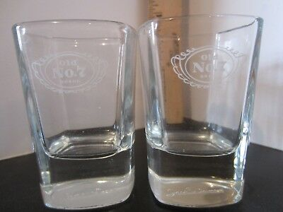 D2 Pair of Jack Daniels Old No 7 Square Glass Shot Glasses Signature on Bottom