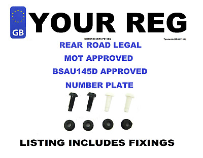 Car Number Plate - GB Euro Single Front  - Road Legal Inc Fixing Nuts & Bolts