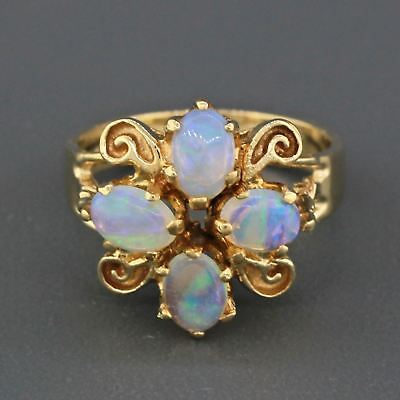 Vintage Retro Estate 14k Solid Yellow Gold Four Oval Opal Fancy Cocktail Ring