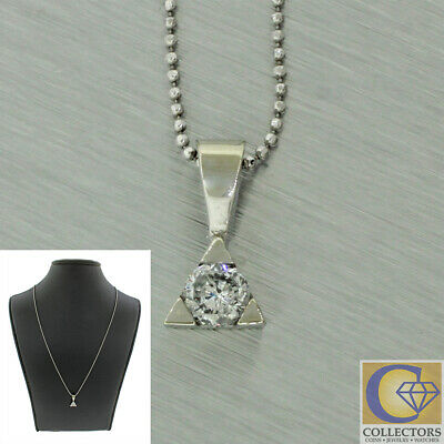 Vintage Estate 14k Solid White Gold 0.30ctw Diamond Triangle Pendant Necklace