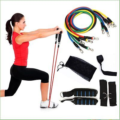 NEW 11 PCS Resistance Band Set Yoga Abs Exercise Fitness Tube Workout Bands AU