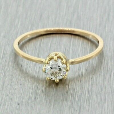 Antique Art Deco 14k Yellow Gold OMC .35ct Diamond Solitaire Engagement Ring