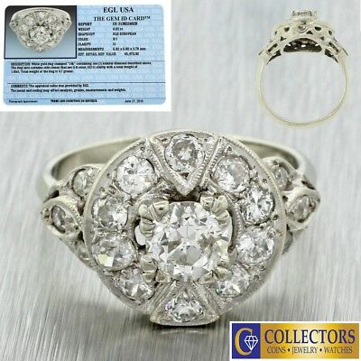 1940s Antique Art Deco 14k Solid White Gold 1.85ctw Diamond Engagement Ring