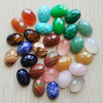 13x18mm Natural Gemstone Cabochons | Faceted | Mixed Types | 30pcs