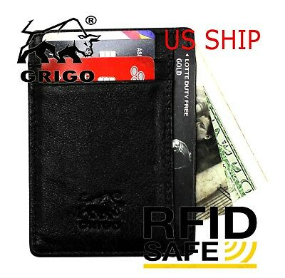 Money Clip RFID Front Pocket Minimalist Genuine Leather Mens Vintage Slim Wallet