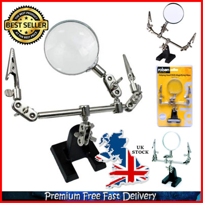 Magnifying Glass With Stand And Crocodile Clip 60mm Lens Crafting Soldering Tool