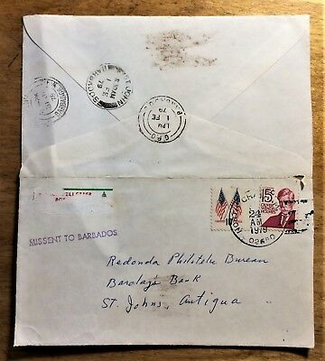 Cover Missent to Barbados Destination Redonda Barclay's Bank 1979 from the US