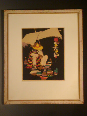 Vintage framed lithograph Mexican pottery vendor by RAMON PRICE