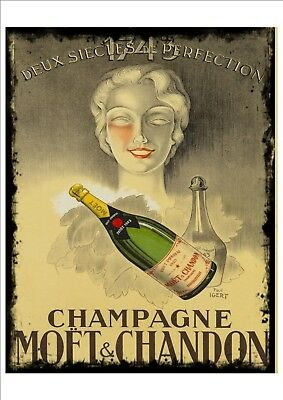 Vintage Champagne Advertising poster reproduction metal sign Champagne Sign