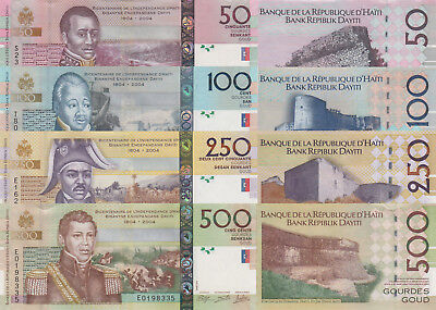 Haiti 4 Note Set: 50 to 500 Gourdes (2013/2014) - p274, p275, p276 and p277