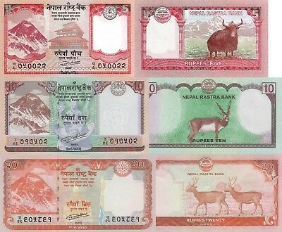 Nepal 3 Note Set: 5, 10 & 20 Rupees (2015/2017) - All pNew UNC