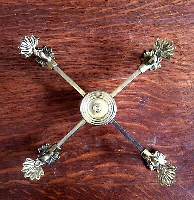 Footed Rococo Style Expandable Brass Dish Cross Trivet Serving Stand