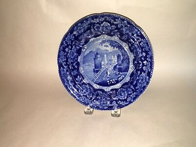 Historical Staffordshire Dark Blue Plate India View Ca. 1825