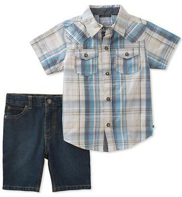 Lucky Brand Boys Plaid Woven Shirt 2pc Short Set Size 2T 3T 4T 4 5 6 7