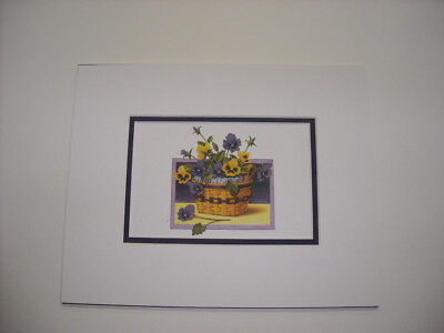 Longaberger May Series Pansy Flowers in Basket Matted Art Print