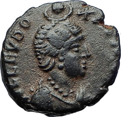 EUDOXIA Arcadius Wife 400AD Authentic Ancient Roman Coin GOD's HAND CROSS i70123
