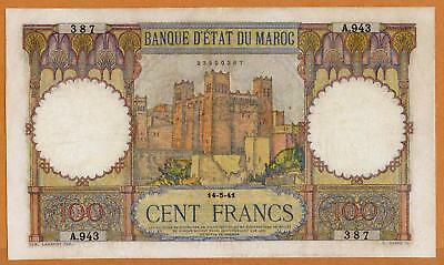 Morocco 100 Francs 1941 Vf+ Nice French Colonial Banknote See Photos!