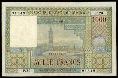 Morocco 1000 Francs 1956 Pick #47 Vf++ French Colonial Banknote Rare & Beautiful