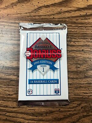 One Unopened Pack of 1993 Donruss Baseball Cards