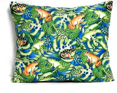 Frogs Toddler Pillow on Blue Cotton F5-2 New Handmade