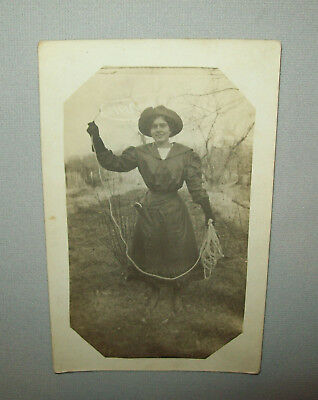 Old Antique Vtg Ca 1912 Cowgirl With Gun and Rope Real Photo Post Card RPPC PC