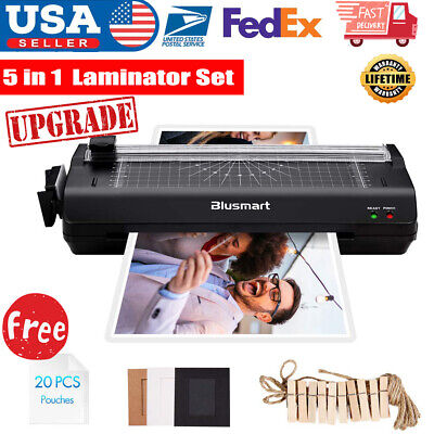 5 in 1 Laminator Machine Set with Paper Trimmer Cutter Corner Rounder Black Home