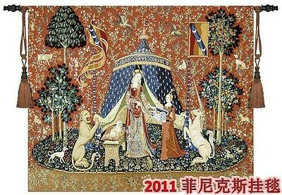 "Taste the lady and the unicorn Woven wall hanging  H 55"" x W 64""Large Tapestries"