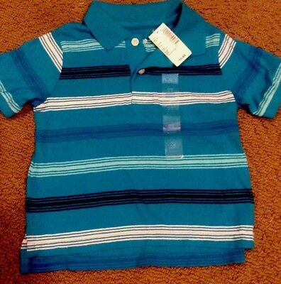 Nwt- Childrens Place short sleeved blue & white polo shirt- 2t