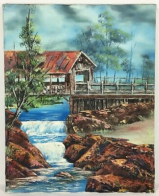 Vintage Original Painting Oil On Canvas Old Bridge Country Side Landscape Trees