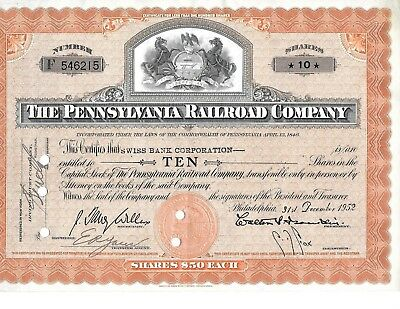 1952  Pennsylvania Railroad Co. Stock Certificate  10 Shares  NICE !