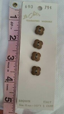 Vintage Buttons On A Card Le Chic Collection Of 6 Matching Brown Flowers #2