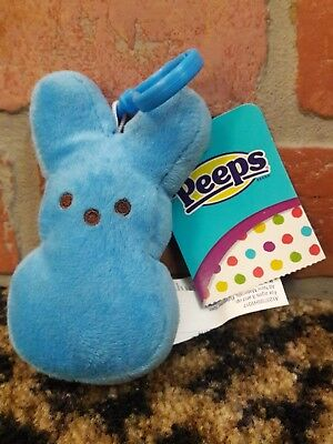 Peeps Keyring Bunny Rabbit Collectible Blue Fuzzy Stuff Animal Charm Key Clip